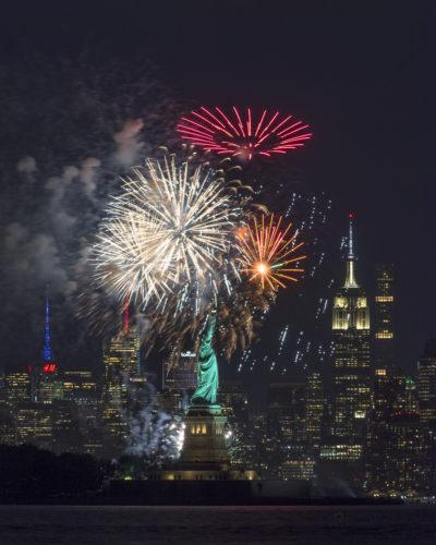 Fireworks behind Liberty Island - July 2017